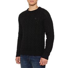 Buy Original Penguin Dylan Cable Jumper, True Black Online at johnlewis.com