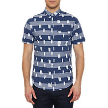 Buy Original Penguin Fleck Print Short Sleeve Shirt, Dark Sapphire Online at johnlewis.com