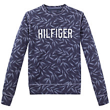 Buy Tommy Hilfiger Leaf Print Crew Neck Sweatshirt, Navy Blazer Online at johnlewis.com
