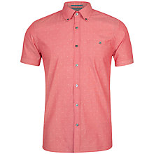 Buy Ted Baker Knightd Stripe Fil Coupe Short Sleeve Shirt, Red Online at johnlewis.com