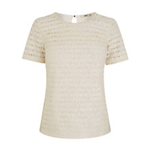 Buy Oasis Lace Pom Pom T-shirt, Off White Online at johnlewis.com