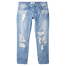 Buy Mango Cropped Relaxed Jeans, Open Blue Online at johnlewis.com