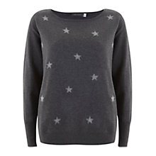 Buy Mint Velvet Felt Star Knit Top, Granite Online at johnlewis.com