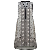 Buy Mint Velvet Ava Print Midi Dress, Grey/Black Online at johnlewis.com