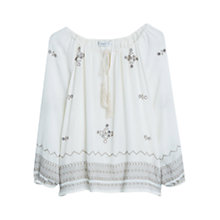 Buy Mango Bead Detail Blouse, Light Beige Online at johnlewis.com