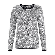 Buy Hobbs Feather Print Jumper, Navy/Ivory Online at johnlewis.com
