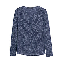 Buy Mango Printed Flowy Shirt, Navy Online at johnlewis.com