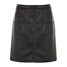 Buy Mint Velvet Leather A-Line Skirt, Black Online at johnlewis.com