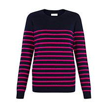 Buy Hobbs Louise Jumper, Navy/Pink Online at johnlewis.com