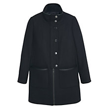 Buy Mango Funnel Neck Coat, Black Online at johnlewis.com