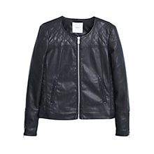 Buy Mango Stitched Panel Biker Jacket, Black Online at johnlewis.com