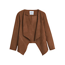 Buy Mango Suede Waterfall Jacket, Dark Brown Online at johnlewis.com