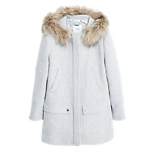 Buy Mango Hooded Coat, Pastel Grey Online at johnlewis.com