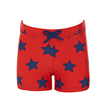 Buy John Lewis Boys' Star Print Swimming Trunks, Red Online at johnlewis.com
