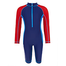 Buy John Lewis Boys' Multi Panel Rash Suit, Navy/Red Online at johnlewis.com