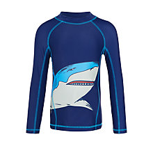 Buy John Lewis Boys' Shark Print Rash Vest, Navy Online at johnlewis.com
