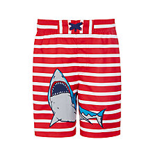 Buy John Lewis Boys' Shark Stripe Board Shorts, Red Online at johnlewis.com