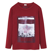 Buy Mango Kids Boys' Quebec Print Long Sleeve T-Shirt, Red Online at johnlewis.com