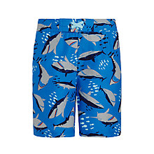 Buy John Lewis Boys' Shark Print Board Shortsm, Blue Online at johnlewis.com