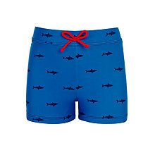 Buy John Lewis Boys' Mini Shark Print Swimming Trunks, Blue Online at johnlewis.com