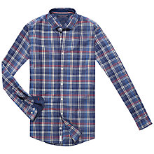 Buy Tommy Hilfiger Emery Checked Shirt, Dutch Navy Heather/Cranberry Online at johnlewis.com