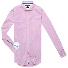 Buy Tommy Hilfiger Twisted Yarn Stripe Slim Fit Shirt, Tomato/Classic White Online at johnlewis.com