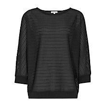 Buy Reiss Leah Textured Jersey Top, Black Online at johnlewis.com