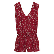 Buy Mango Short Printed Jumpsuit, Dark Red Online at johnlewis.com