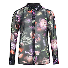 Buy Ted Baker Malinda Shadow Floral Shirt, Mid Grey Online at johnlewis.com