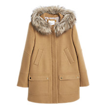 Buy Mango Faux Fur Hood Coat, Medium Brown Online at johnlewis.com
