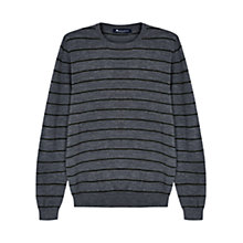 Buy Aquascutum Rolfe Stripe Crew Neck Merino Wool Jumper, Grey Online at johnlewis.com