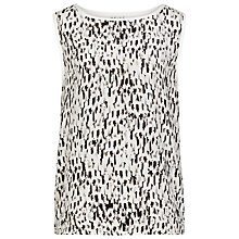 Buy Reiss Silk Front Tash Print Tank Top, Black/White Online at johnlewis.com