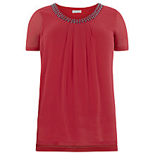 Buy Windsmoor Embellished Neckline Top, Bright Pink Online at johnlewis.com