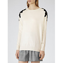 Buy Reiss Lace Jumper, Off White/Black Online at johnlewis.com