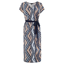 Buy Warehouse Aztec Belted Midi Dress, Blue Online at johnlewis.com