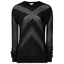 Buy Reiss Patterned Knit Jumper, Black Online at johnlewis.com