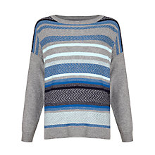 Buy Collection WEEKEND by John Lewis Drop Shoulder Stripe Jumper, Grey/Blue Online at johnlewis.com