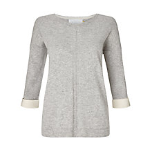 Buy Collection WEEKEND by John Lewis Cashmere Turned Back Cuff Jumper, Grey/Ivory Online at johnlewis.com