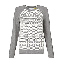 Buy Collection WEEKEND by John Lewis Crew Neck Navajo Jumper, Grey/Ivory Online at johnlewis.com