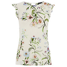 Buy Warehouse Blossom Floral Shell T-Shirt, Cream Online at johnlewis.com