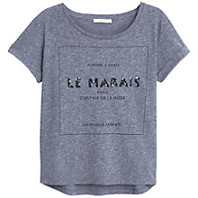 Buy Mango Printed Message T-Shirt, Dark Grey Online at johnlewis.com