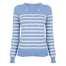 Buy Oasis Stripe Embellish Jumper, Mid Blue Online at johnlewis.com