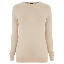 Buy Warehouse Button Cuff Jumper, Cream Online at johnlewis.com