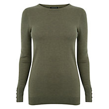 Buy Warehouse Button Cuff Jumper, Dark Green Online at johnlewis.com