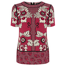 Buy Warehouse Tile Floral T-Shirt Top, Bright Red Online at johnlewis.com