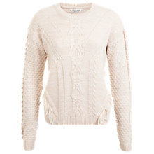 Buy Miss Selfridge Cable Fringe Jumper, Pink Online at johnlewis.com