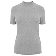 Buy Warehouse Ribbed High Neck T-Shirt Top, Dark Grey Online at johnlewis.com