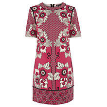 Buy Warehouse Tile Floral Print Shift Dress, Red Pattern Online at johnlewis.com