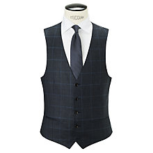 Buy John Lewis Super 80s Wool Glen Check Tailored Waistcoat, Navy Online at johnlewis.com