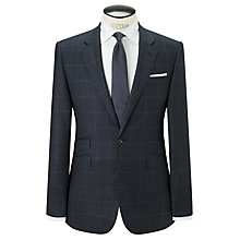Buy John Lewis Super 80s Wool Glen Check Tailored Suit Jacket, Navy Online at johnlewis.com